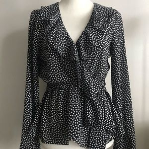 Cinched faux wrap polka dot top